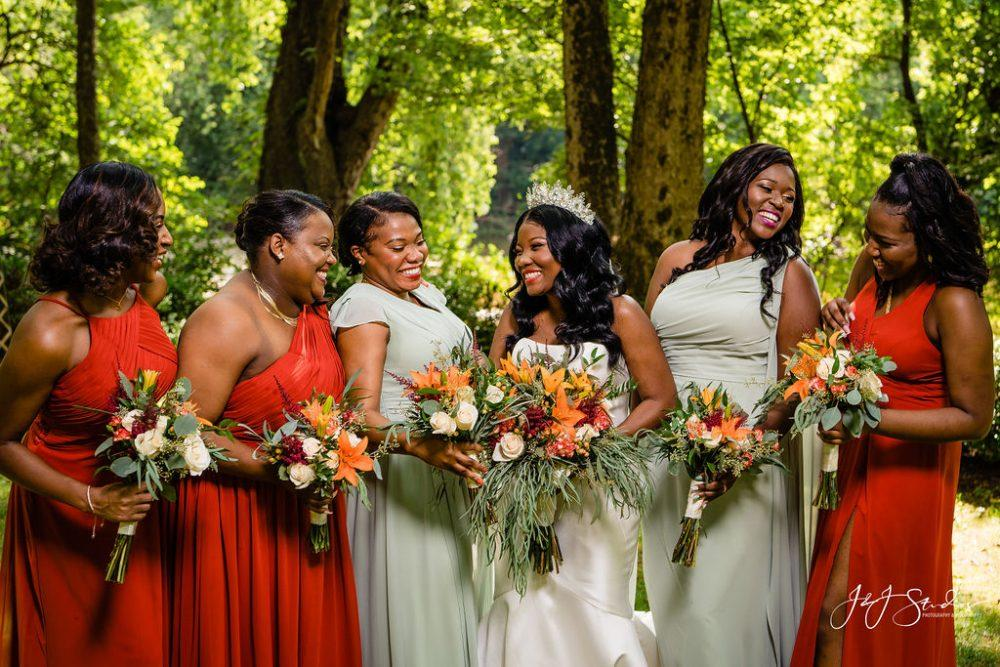 African american bride and bridal party