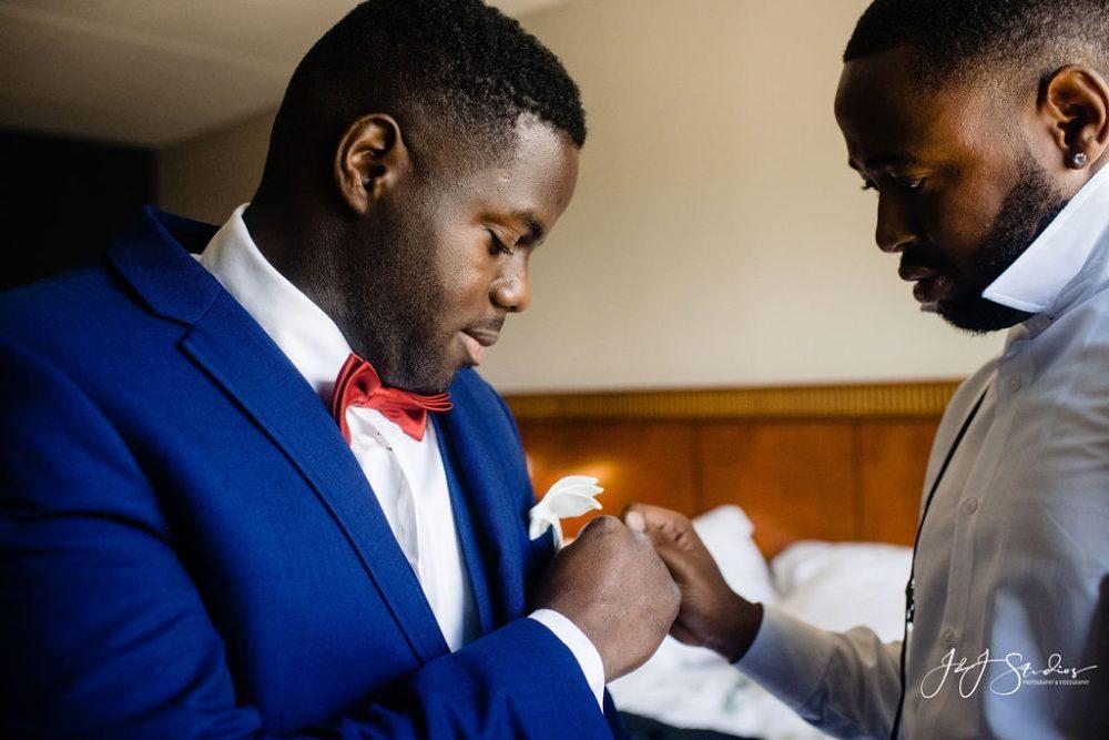 groom and groomsman on wedding day