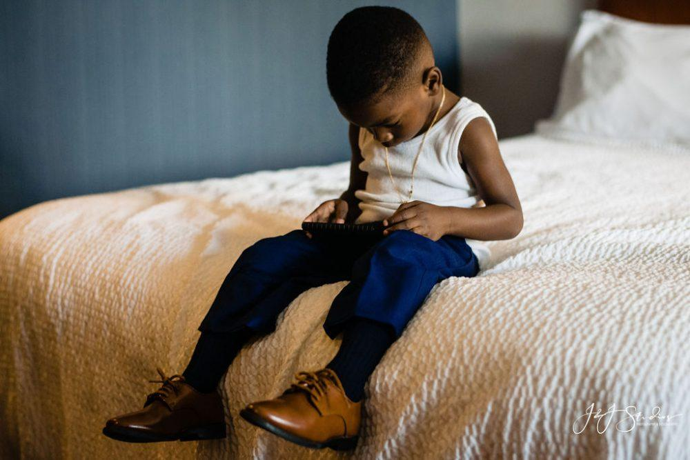little Black boy getting ready for wedding