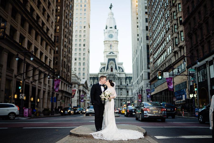married couple in front of philly city hall