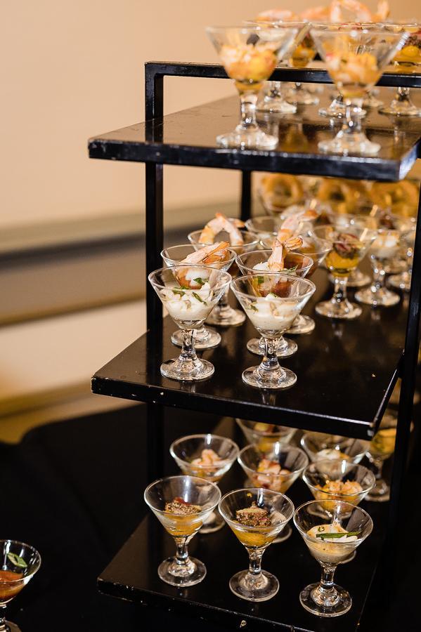 appetizers in mini martini glasses at wedding reception