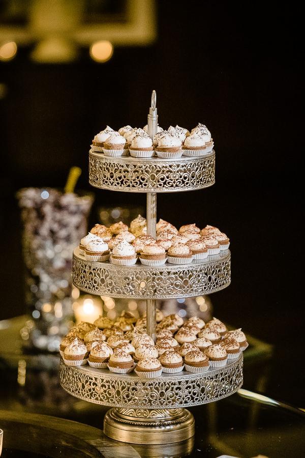 mini desserts at wedding reception