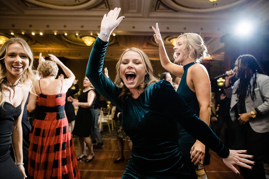 guests dance to band on dance floor