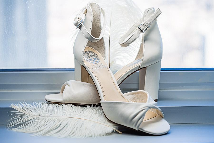 white, open-toed wedding heels
