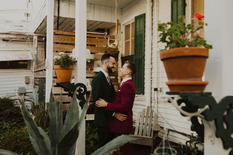 Philadelphia wedding photographers, Brandi Brooks Photography, two grooms embrace, lgbt