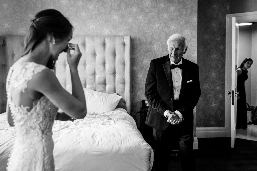 Philadelphia wedding photographers, salt and sonder studio, father of bride first look reaction
