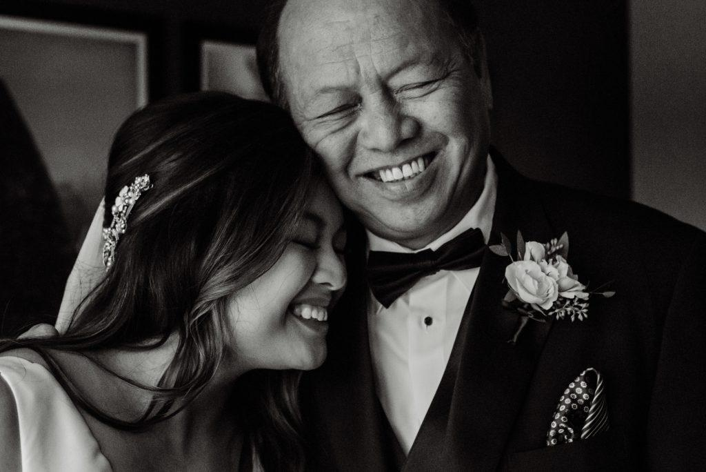 Philadelphia wedding photographers, Megan Brock Photography, father and bride embrace and smile