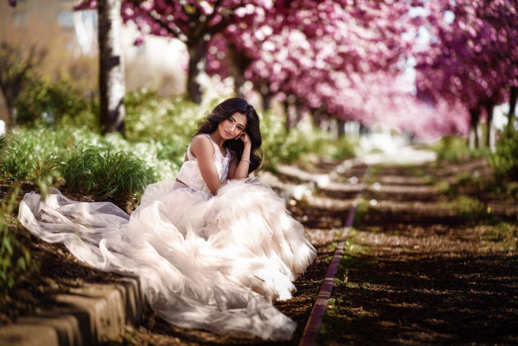 Philadelphia wedding photographers, Iryna Shostak Photography, bride portrait with cherry blossoms