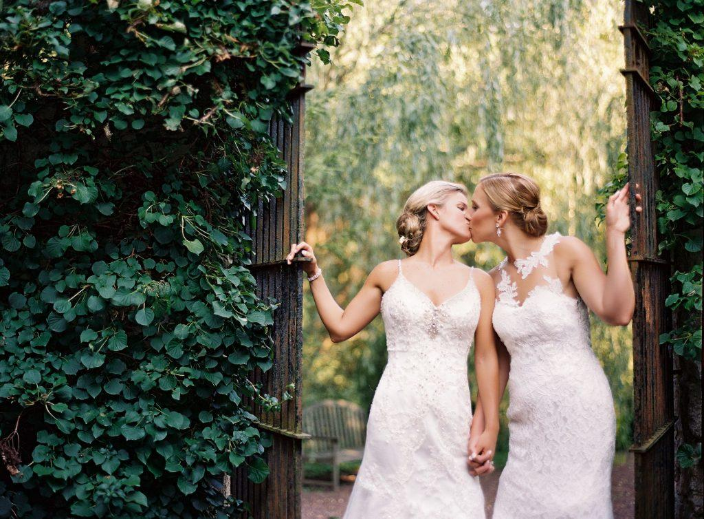 Philadelphia wedding photographers, jordan brian studios, two brides brides kissing, lgbt