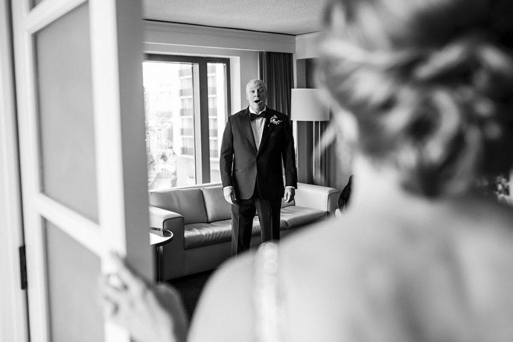 Philadelphia wedding photographers, daniel moyer photography, black and white, first look father's reaction