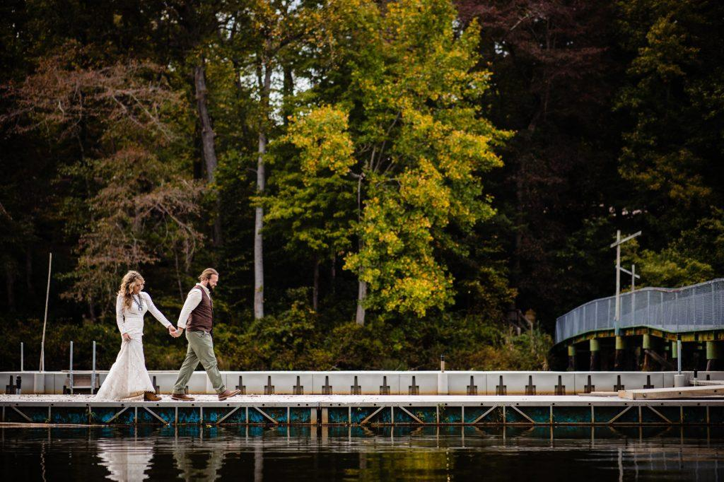 philadelphia wedding photographers, nicole cordisco photography, bride and groom on dock