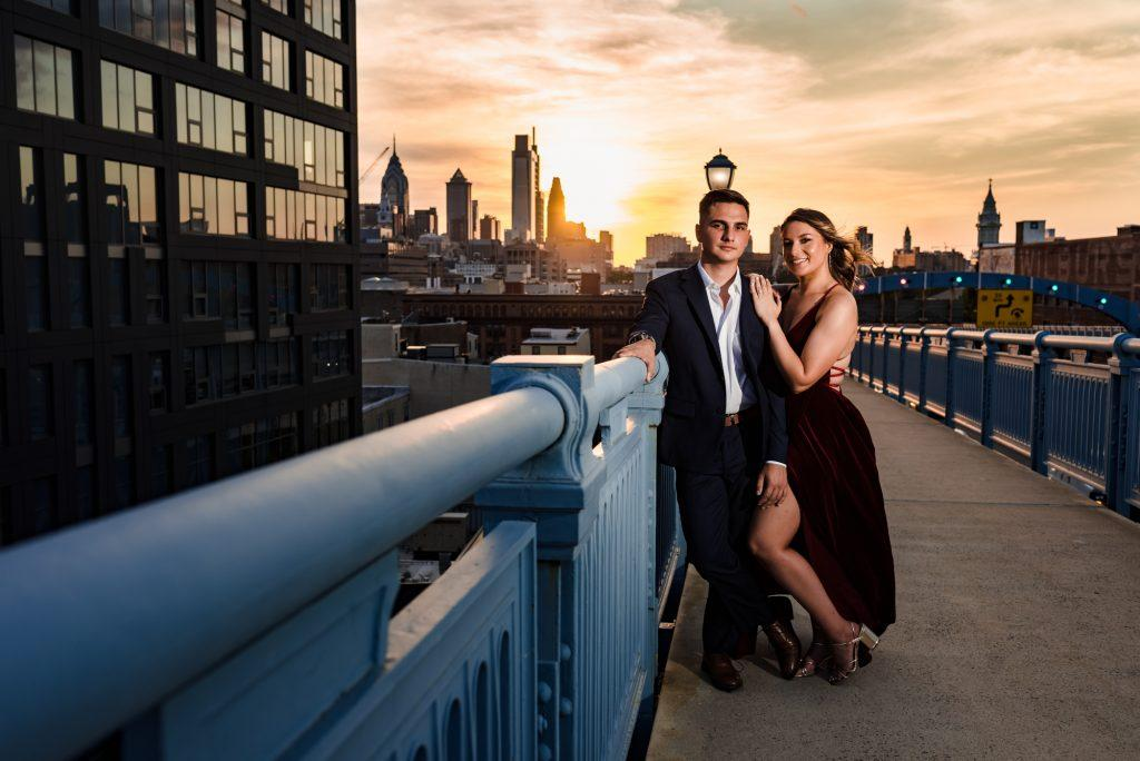 philadelphia wedding photographers, nicole cordisco photography, engagement photo on ben franklin bridge