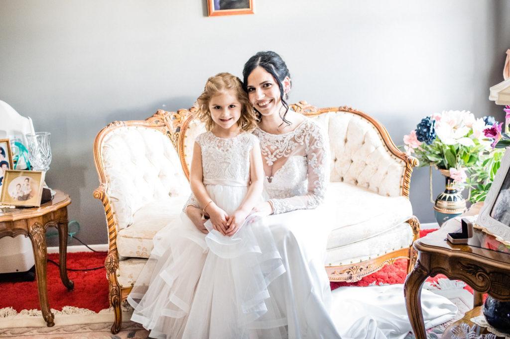 bride pose with flower girl, crystal tea room wedding nicole cordisco photography